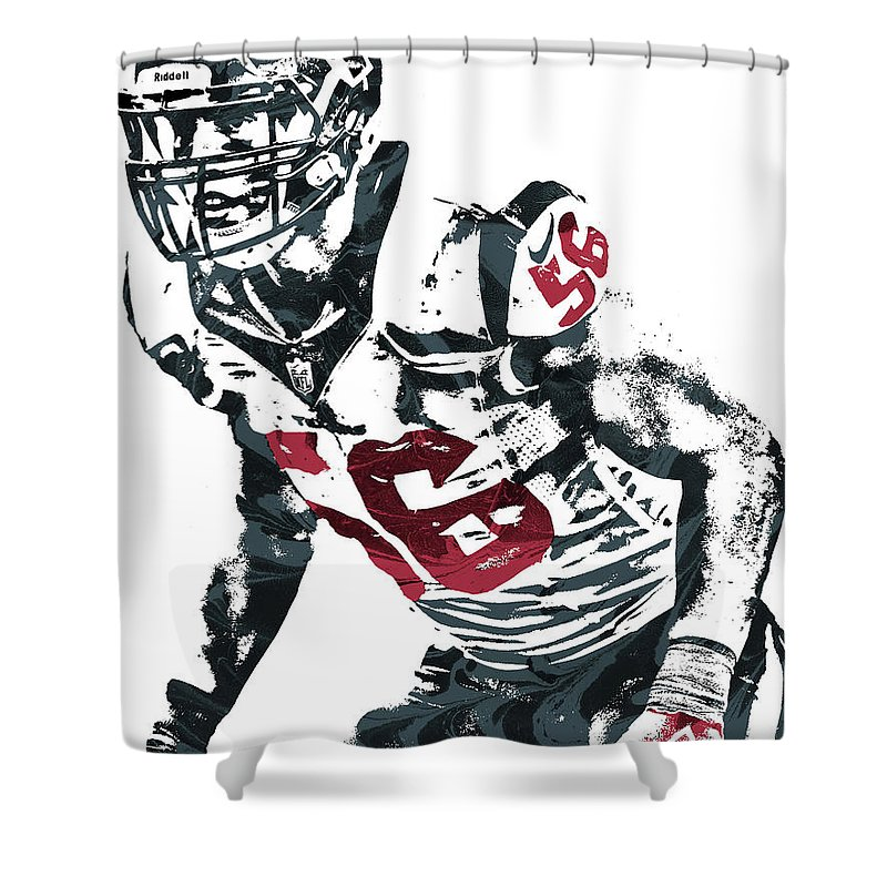 Brian Cushing Shower Curtain Featuring The Mixed Media Houston Texans Pixel Art By Joe