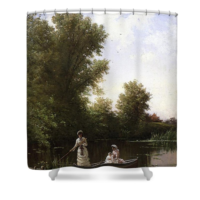 Alfred_thompson_bricher-boating_in_the_afternoon_c1886 Shower Curtain featuring the painting Bricher Boating In The Afternoon by MotionAge Designs