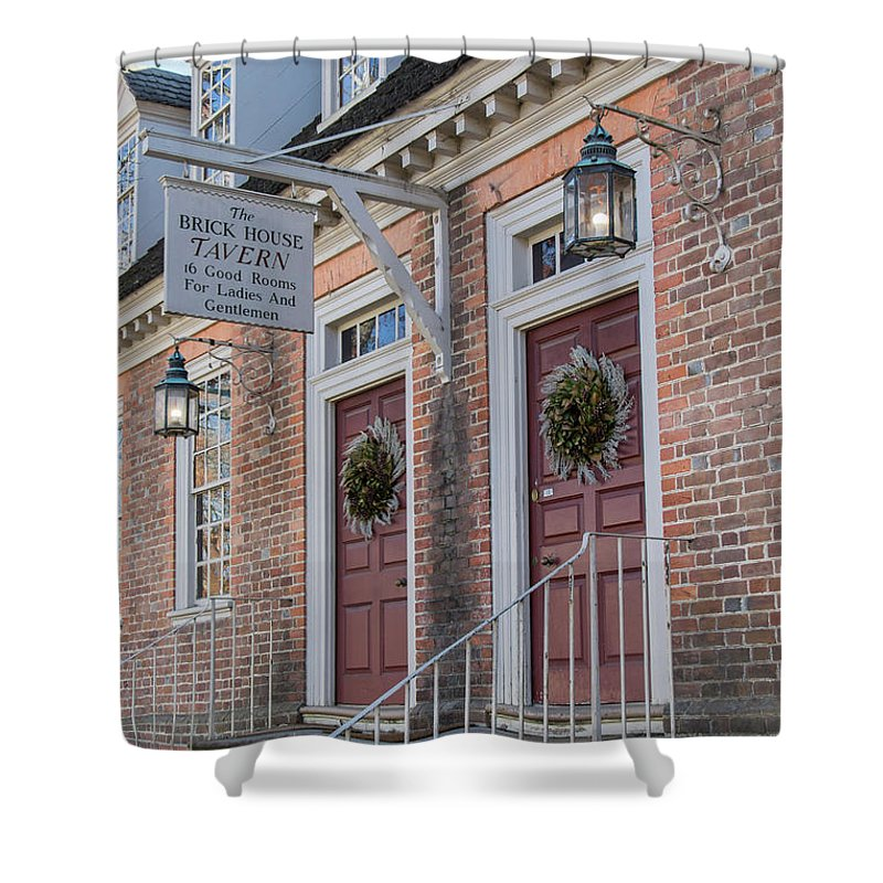 2015 Shower Curtain Featuring The Photograph Brick House Tavern Colonial Williamsburg By Teresa Mucha