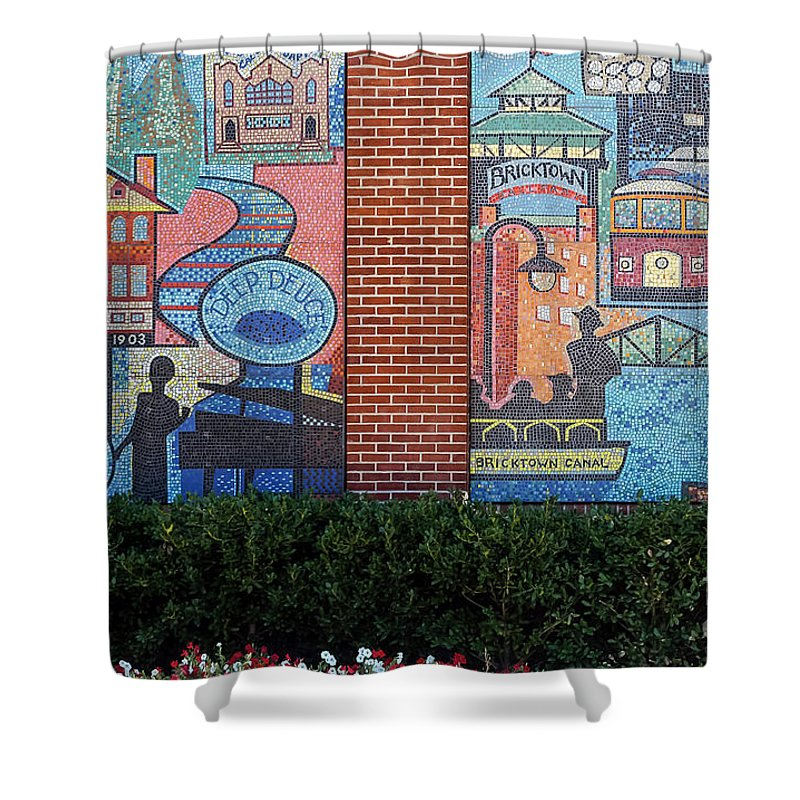 Oklahoma City Oklahoma Chickasaw Ballpark Architecture City Cities Cityscape Cityscapes Bricktown Mosaics Mosaic Tile Tiles Street Art Artwork Shower Curtain featuring the photograph Bricktown Mosaics by Bob Phillips