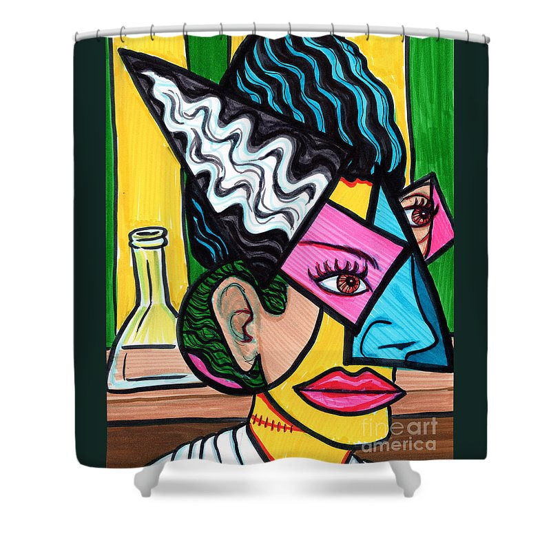 Bride Of Frankenstein Shower Curtain Featuring The Painting By Brenda Kato