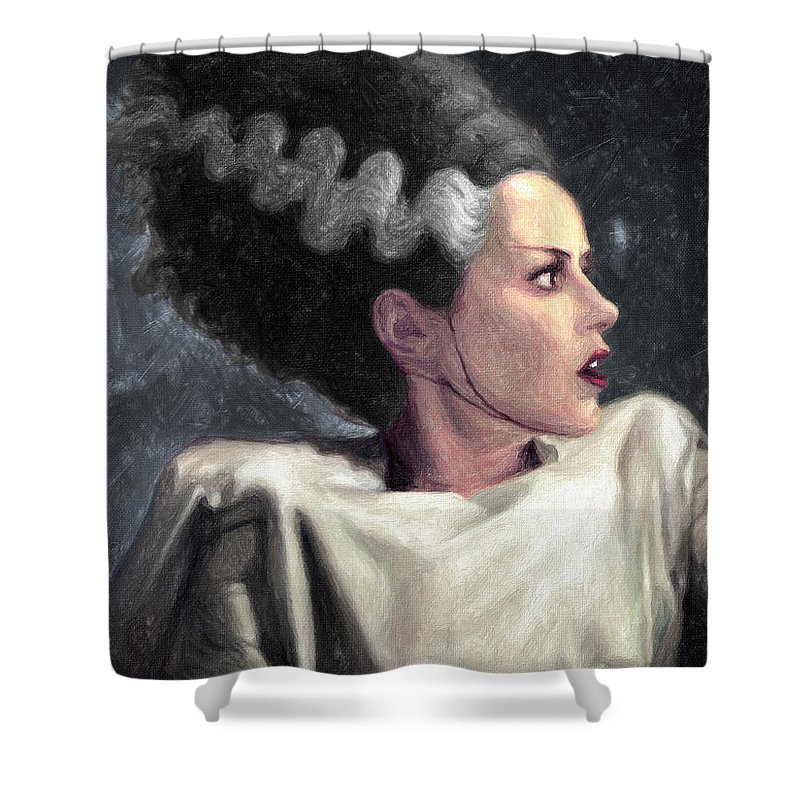 Bride Of Frankenstein Shower Curtain Featuring The Painting By Zapista