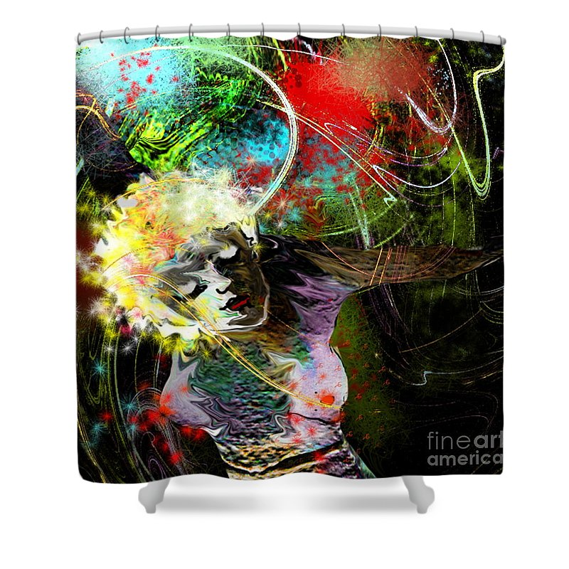 Fantasy Shower Curtain featuring the painting Bride Of Halos by Miki De Goodaboom