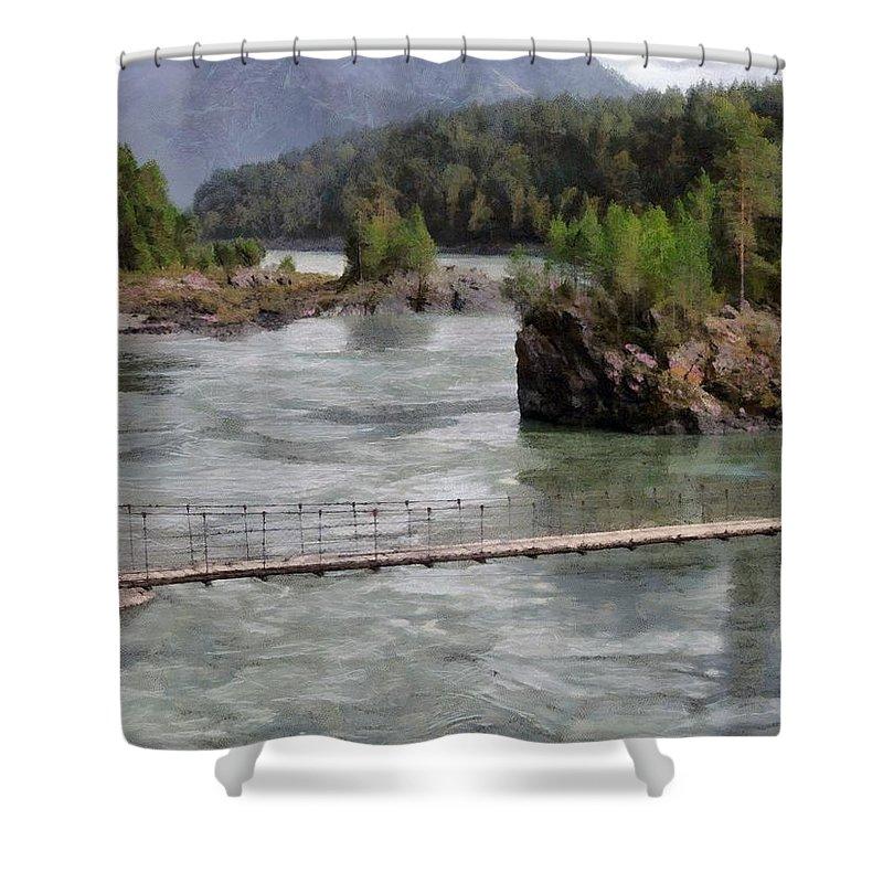 Bridge Shower Curtain featuring the photograph Bridge Across Mountain River by Sergey Lukashin