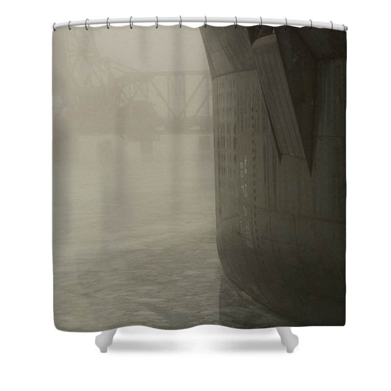 Water Shower Curtain featuring the photograph Bridge And Barge by Tim Nyberg