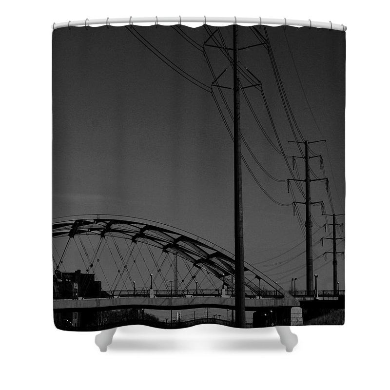 Metal Structures Shower Curtain featuring the photograph Bridge And Power Poles At Dusk by Angus Hooper Iii