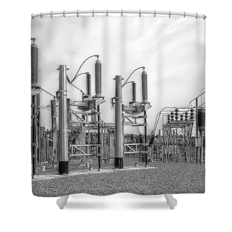 Energy Shower Curtain featuring the photograph Bridge Ave Power Substation - Spokane Washington by Daniel Hagerman