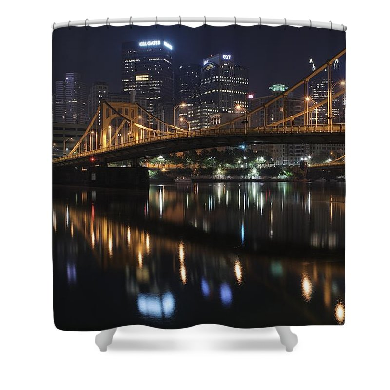 Pittsburgh Shower Curtain featuring the photograph Bridge In The Heart Of Pittsburgh by Frozen in Time Fine Art Photography