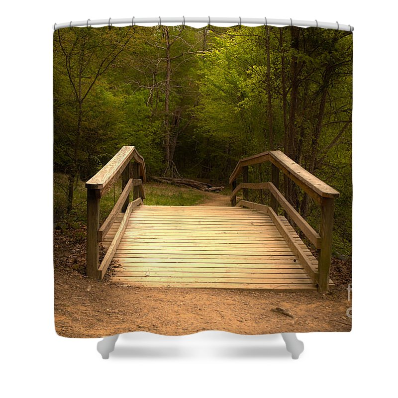 Bridge Shower Curtain featuring the photograph Bridge In The Woods by Sarah Johnson