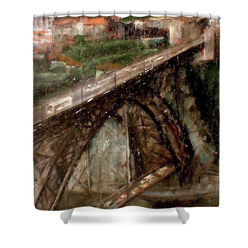 Porto Shower Curtain featuring the painting Bridge Luis I-Oporto by Tomas Castano