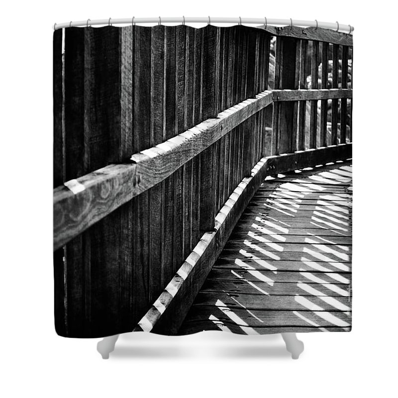 Black Shower Curtain featuring the photograph Bridge To Everywhere by Phill Petrovic