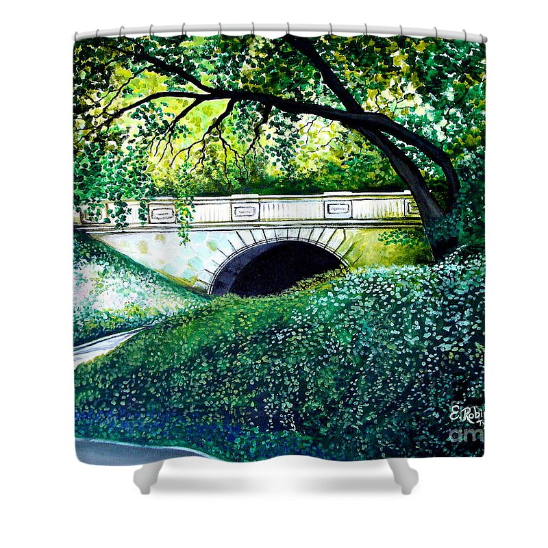 Landscape Shower Curtain featuring the painting Bridge To New York by Elizabeth Robinette Tyndall