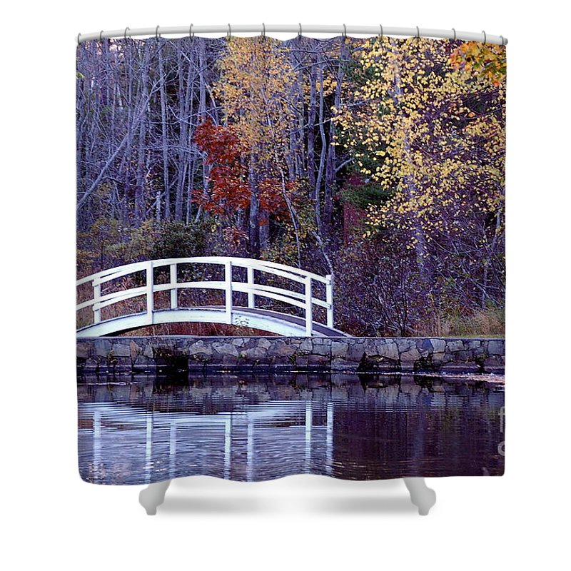 Bridge Shower Curtain featuring the photograph Bridge To Serenity by Faith Harron Boudreau