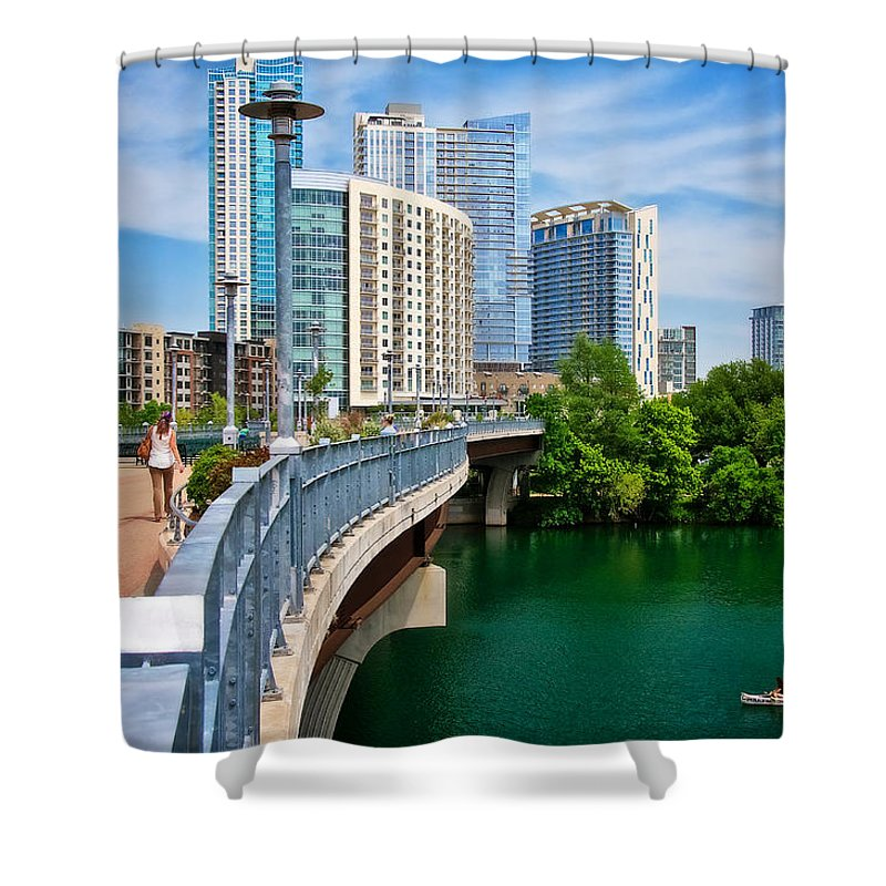 Austin Shower Curtain featuring the photograph Bridge With A View by Zayne Diamond Photographic