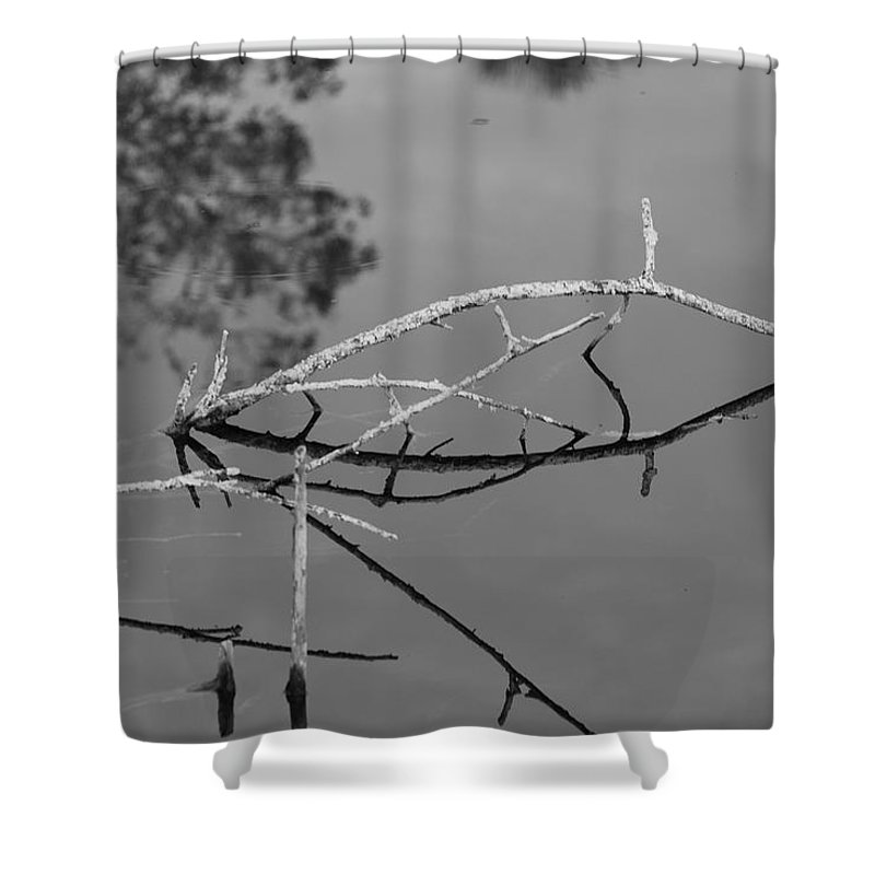 Black And White Shower Curtain featuring the photograph Bridges In Wood by Rob Hans