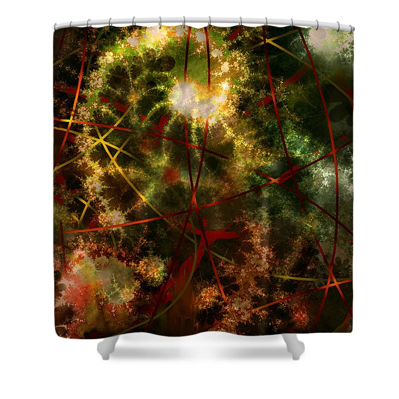Abstract Shower Curtain featuring the digital art Bridges To Inner Sanctums by Stephen Lucas