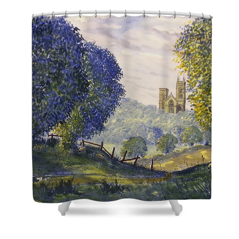 Glenn Marshall Yorkshire Artist Shower Curtain featuring the painting Bridlington Priory From Woldgate On The Hockney Trail by Glenn Marshall