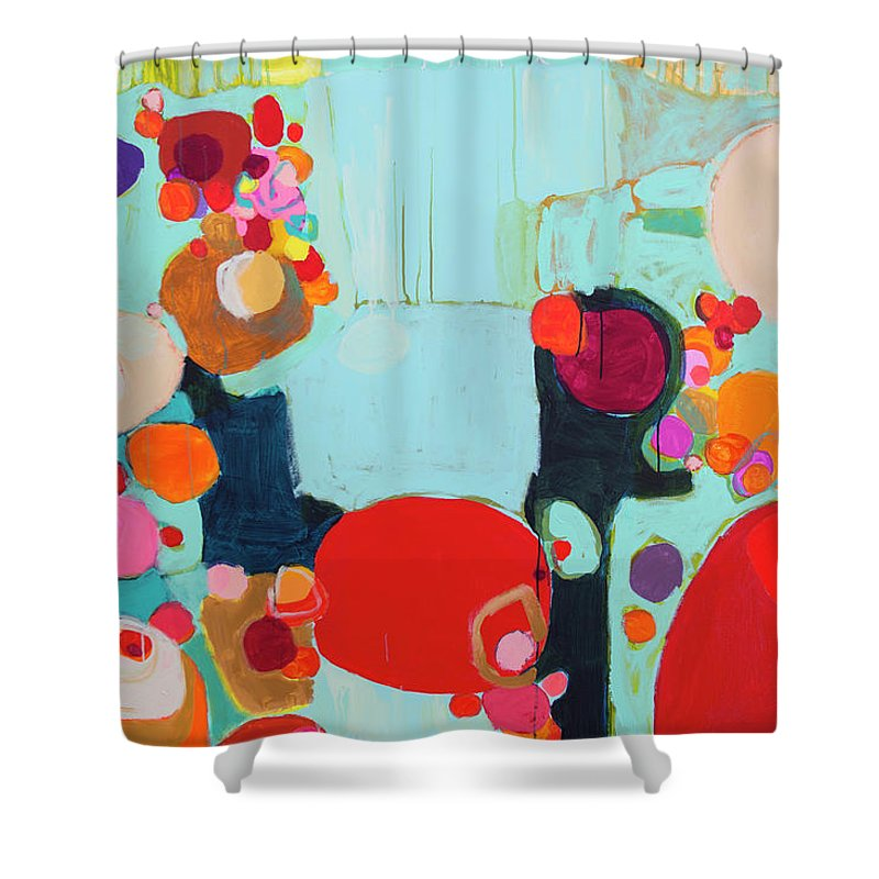 Abstract Shower Curtain featuring the painting Bright As Quiet by Claire Desjardins