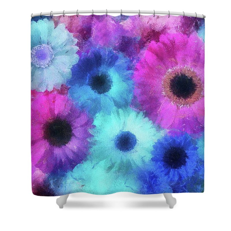 Flowers Shower Curtain featuring the painting Bright Blossoms by Jamie Holbrook