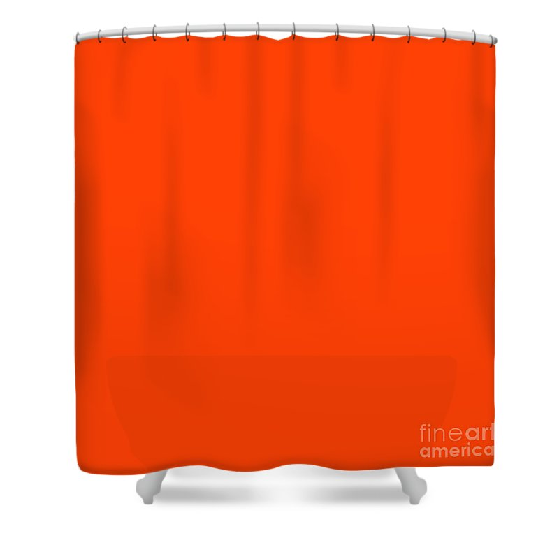 Bright Fluorescent Orange Neon Shower Curtain Featuring The Digital Art Attack By