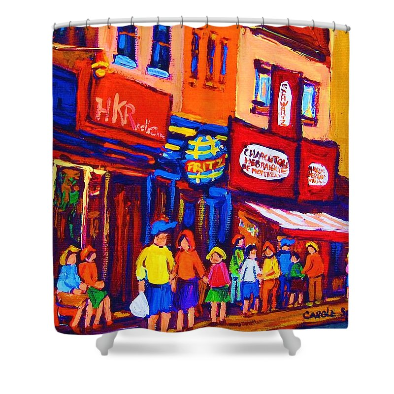 Schwartz's Hebrew Deli Shower Curtain featuring the painting Bright Lights On The Main by Carole Spandau
