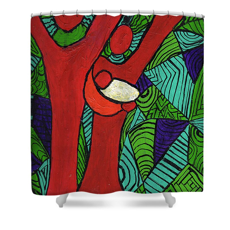 Family Shower Curtain featuring the painting Bright New Day by Wayne Potrafka