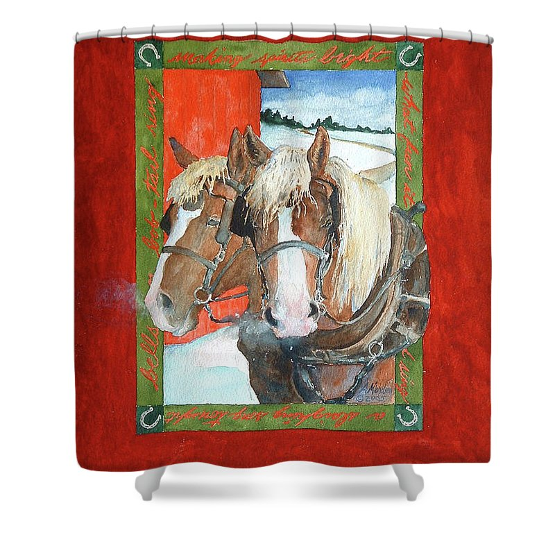 Horses Shower Curtain featuring the painting Bright Spirits by Christie Michelsen