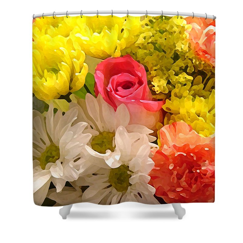Floral Shower Curtain featuring the painting Bright Spring Flowers by Amy Vangsgard