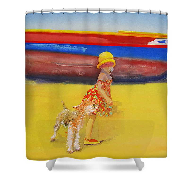 Wire Haired Fox Terrier Shower Curtain featuring the painting Brightly Painted Wooden Boats With Terrier And Friend by Charles Stuart