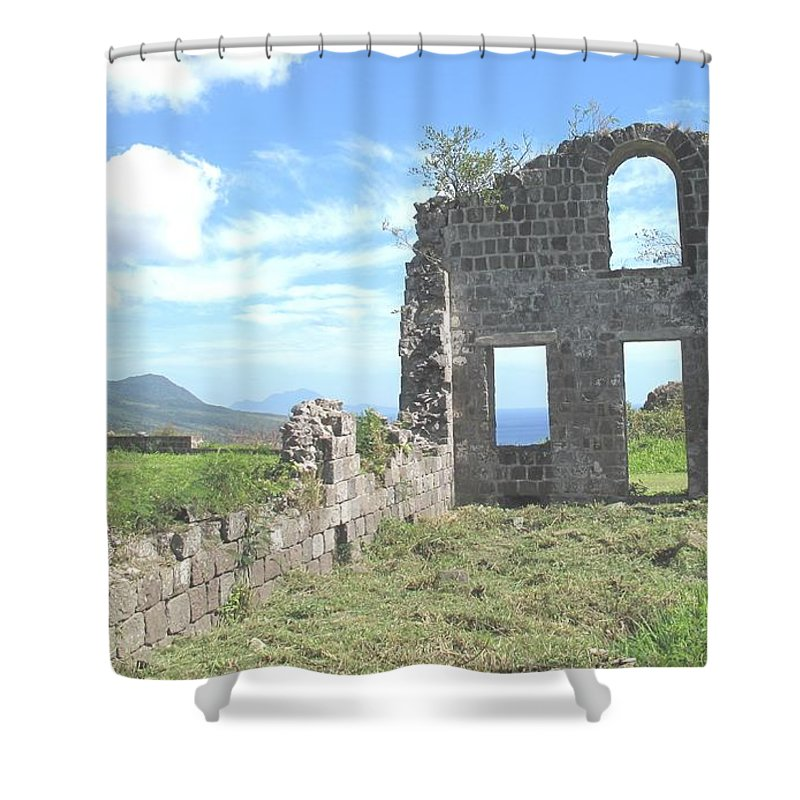 St Kitts Shower Curtain featuring the photograph Brimstone Ruins by Ian MacDonald