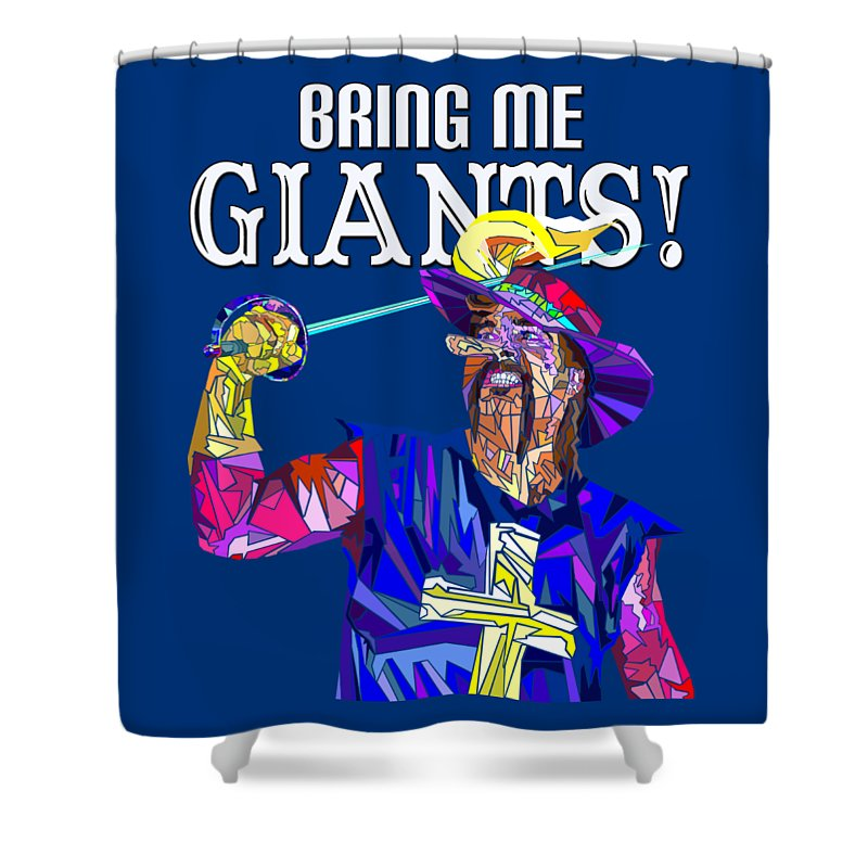 Cyrano De Bergerac Shower Curtain featuring the painting Bring Me Giants Tee by Douglas Christian Larsen