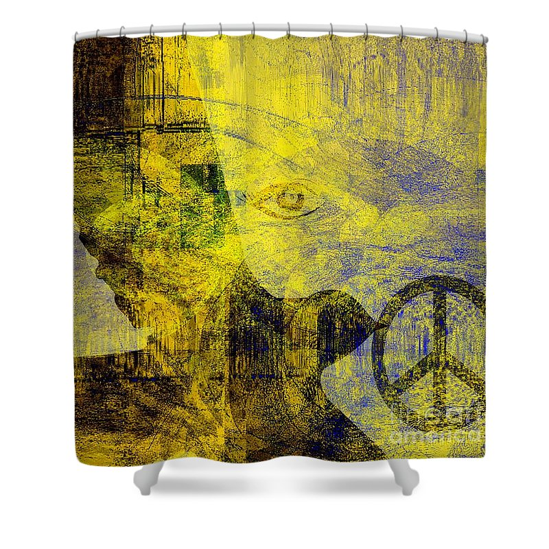 Fania Simon Shower Curtain featuring the mixed media Bring Me The Horizon by Fania Simon