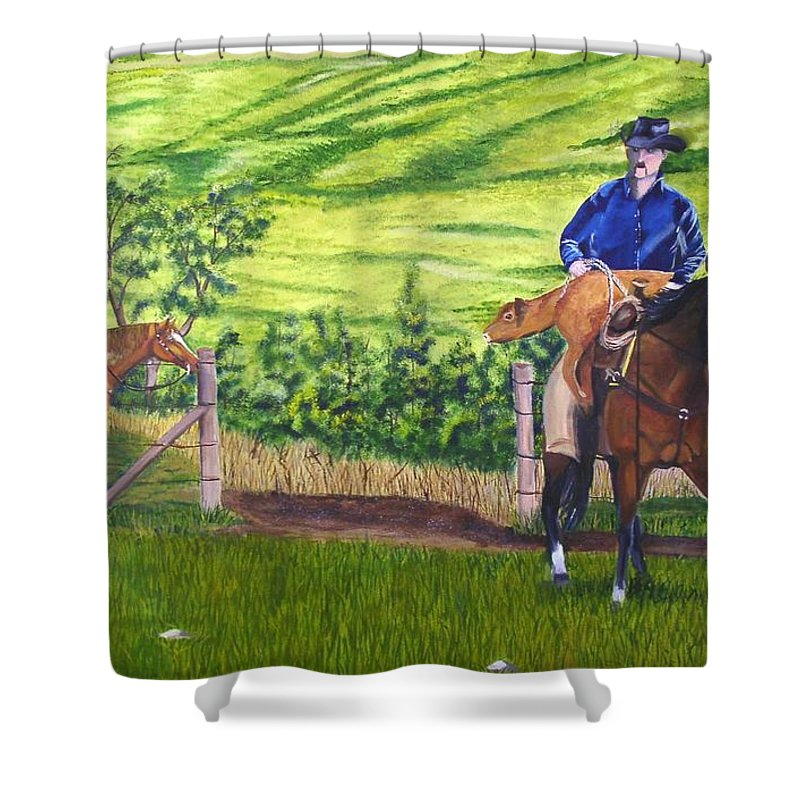 Cowboy Shower Curtain featuring the painting Bringin by Mendy Pedersen
