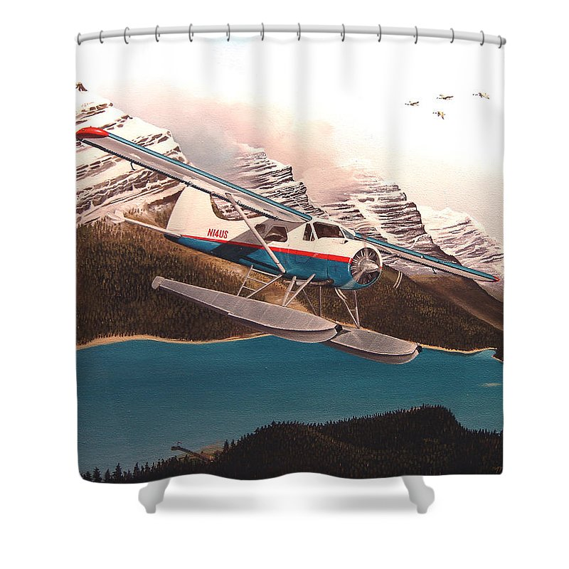 Aviation Shower Curtain featuring the painting Bringing Home The Groceries by Marc Stewart