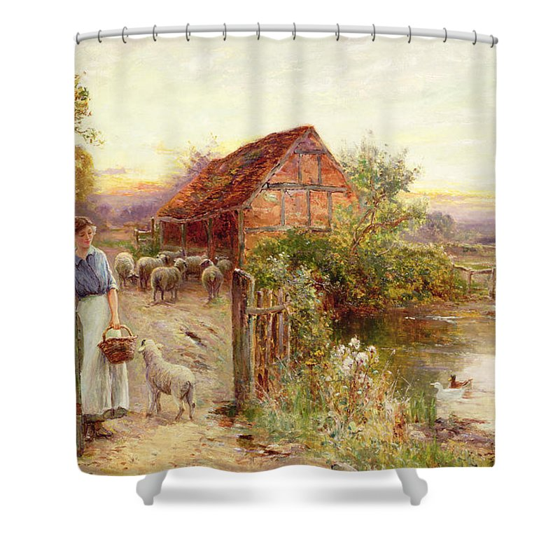 Bringing Home The Sheep By Ernest Walbourn 1872 1927 Shower Curtain Featuring