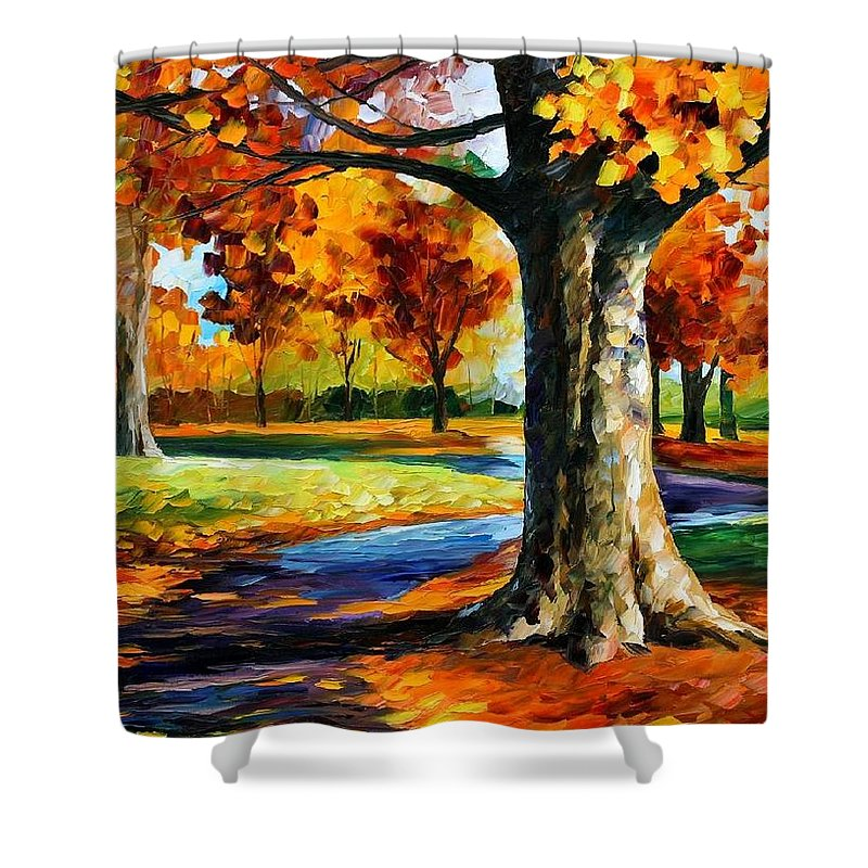 Afremov Shower Curtain featuring the painting Bristol Fall by Leonid Afremov