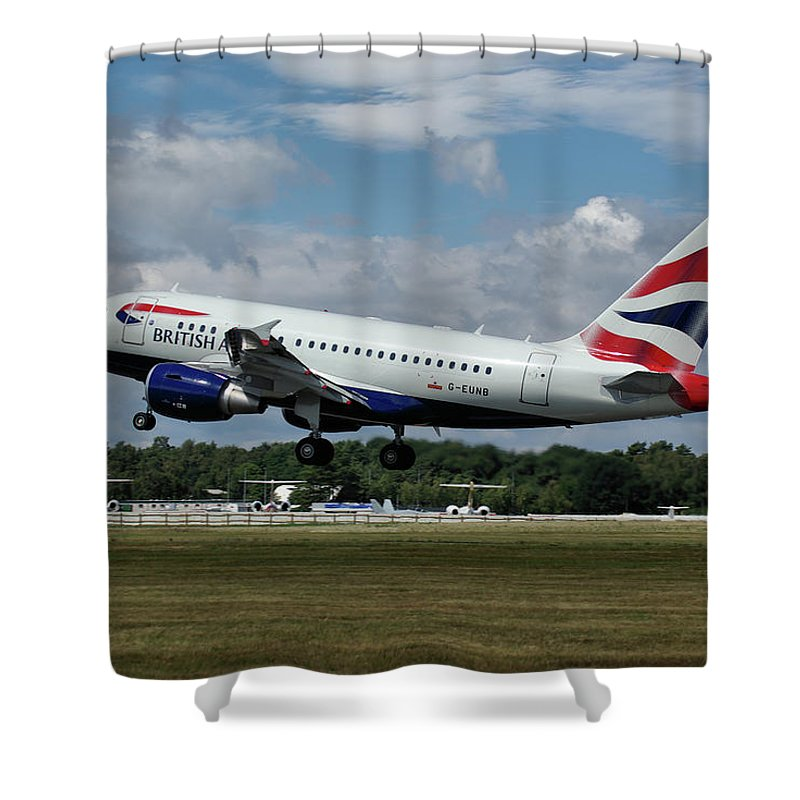 Airbus Shower Curtain featuring the photograph British Airways Airbus A318-112 G-eunb by Tim Beach