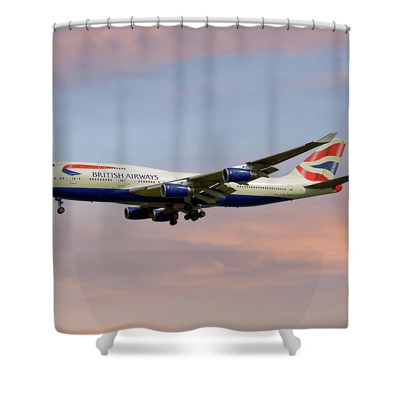 Passenger Shower Curtain featuring the photograph British Airways Boeing 747-436 by Smart Aviation