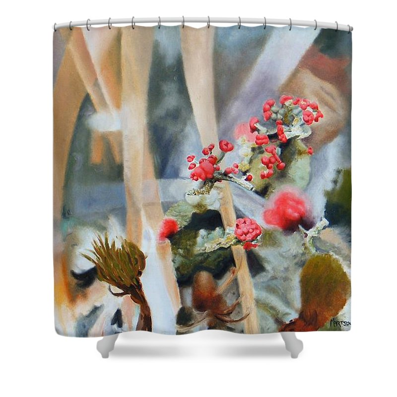 Nature Shower Curtain featuring the painting British Soldiers by Dave Martsolf