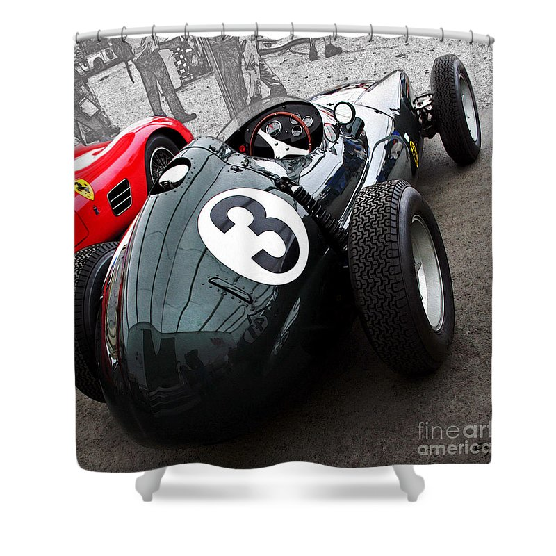 Vintage Shower Curtain featuring the photograph Brm F-1 1958 by Curt Johnson
