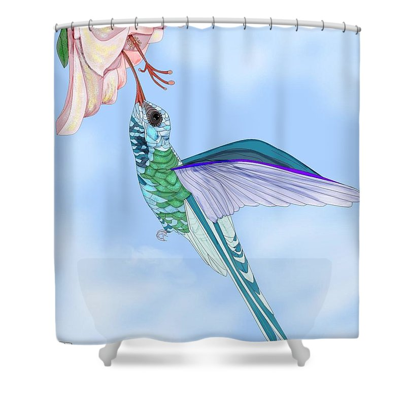 Hummingbird Shower Curtain featuring the painting Broadbilled Hummer by Anne Norskog