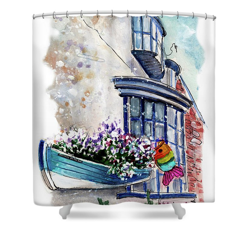 Travel Shower Curtain featuring the painting Broadies By The Sea In Staithes by Miki De Goodaboom