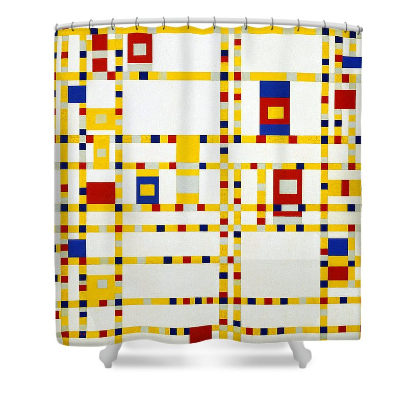 Piet-mondrian Shower Curtain featuring the painting Broadway Boogie Woogie by MotionAge Designs