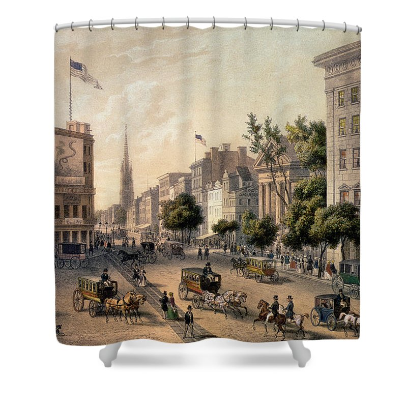Broadway Shower Curtain Featuring The Painting In Nineteenth Century By Augustus Kollner