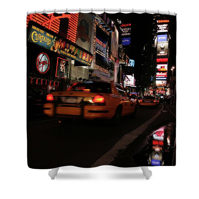 Nyc Shower Curtain featuring the photograph Broadway Lights by Karol Livote
