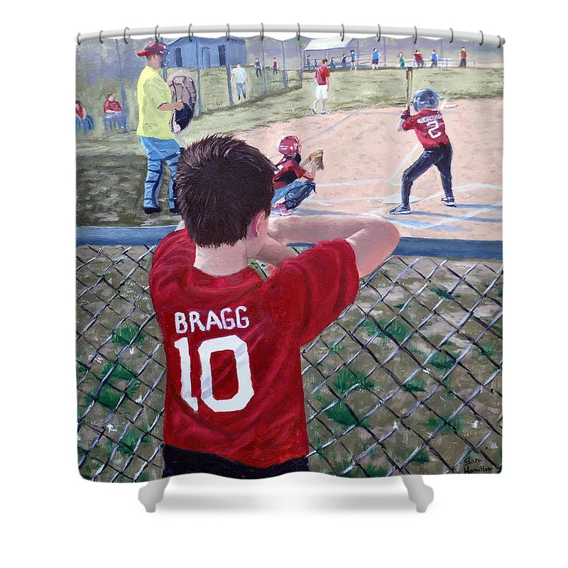Child Shower Curtain featuring the painting Brock by Stan Hamilton