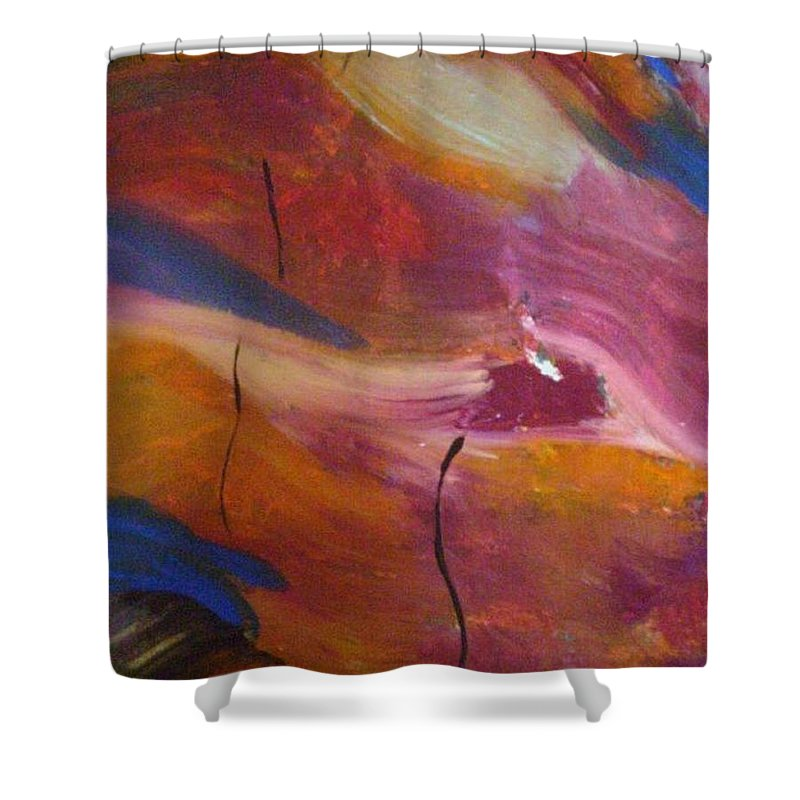 Abstract Art Shower Curtain featuring the painting Broken Heart by Kelly Turner