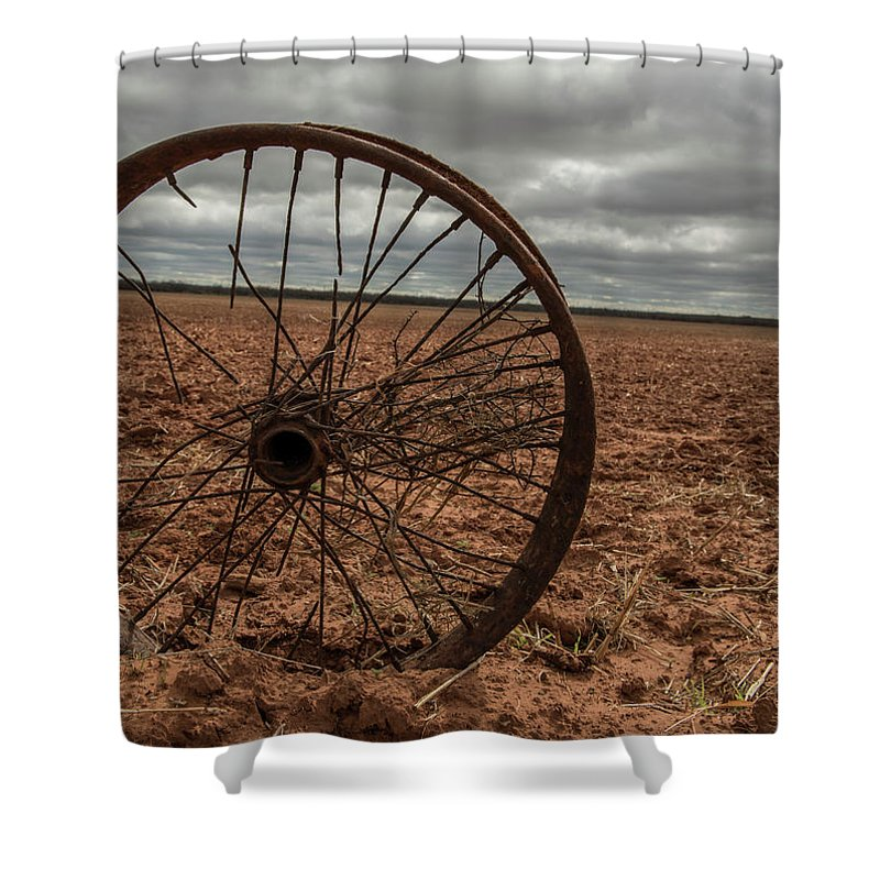 Wheel Shower Curtain featuring the photograph Broken Spokes by Kevin McCollum