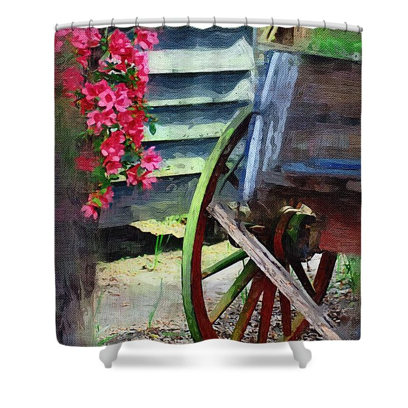 Wagon Shower Curtain featuring the photograph Broken Wagon by Donna Bentley