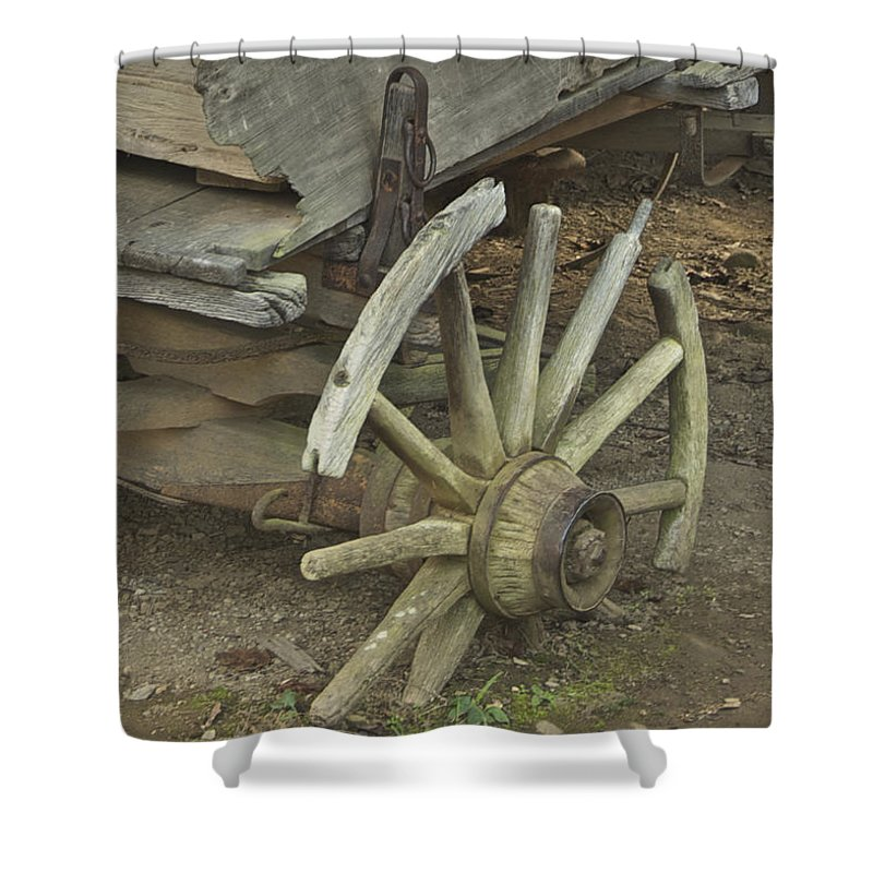 Wagon Shower Curtain featuring the photograph Broken Wheel by Michael Peychich